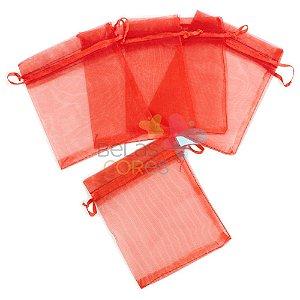 Saquinho de Organza 9x12 cm Vermelho - 50 unidades