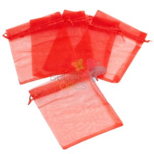 Saquinho de Organza 13x17 cm Vermelho - 50 unidades