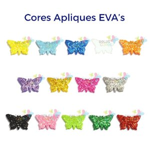 Mini Aplique de EVA Glitter Modelo Borboleta Diversas Cores - Tamanho PP - 50 unidades