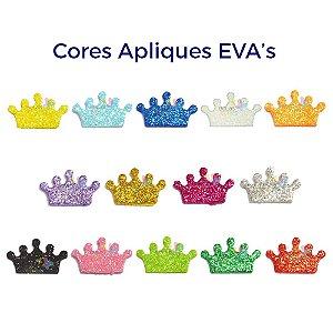 Mini Aplique de EVA Glitter Modelo Coroa - Diversas Cores - Tamanho P - 50 unidades