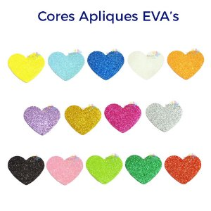 Aplique de EVA Glitter Modelo Coração Diversas Cores - Tamanho G - 50 unidades