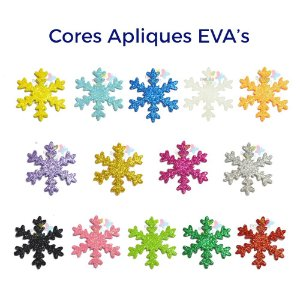 Aplique de EVA Glitter Modelo Gelo/Neve - Diversas Cores - Tamanho G - 50 unidades