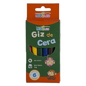 Giz de Cera Fino Leo e Leo - 1 caixinha c/ 6 Cores