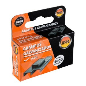Grampo Galvanizado 26/6 Jocar Office - 1000 Grampos