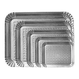 Bandeja de Papel Cartão Retangular Metalizada Prata (escolha)