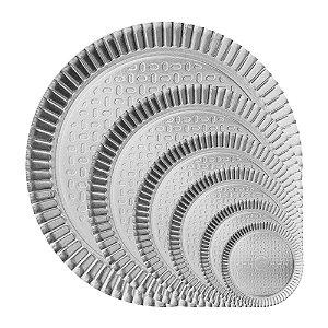Prato Bandeja Redondo de Papel Metalizado Prata (escolha)