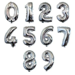 Balão de Número Metalizado Prata 40cm - Escolha os Números