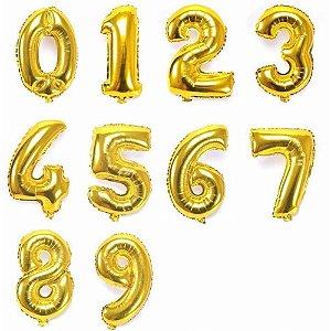 Balão de Número Metalizado Dourado 40cm - Escolha os Números