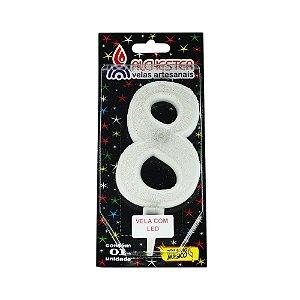 Vela Led Número 8 Alchester 10cm - 1 Unidade