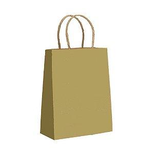 Sacola de Papel Cor Ouro Tamanho P 18x22x10cm - 10 Unidades