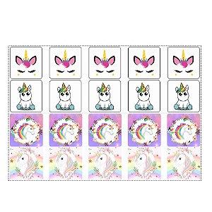 20 Adesivos Unicornio para Lembrancinha Quadrado 4,7cm