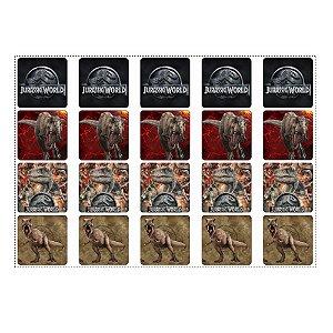 20 Adesivos Jurassic World para Lembrancinha Quadrado 4,7cm