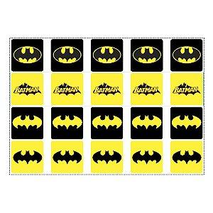 20 Adesivos Batman Geek para Lembrancinha Quadrado 4,7cm