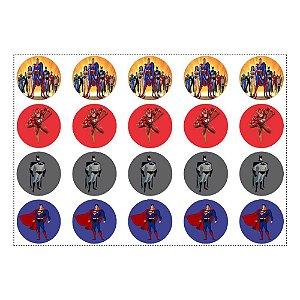 20 Adesivos Liga da Justiça para Lembrancinha Redondo 4,7cm