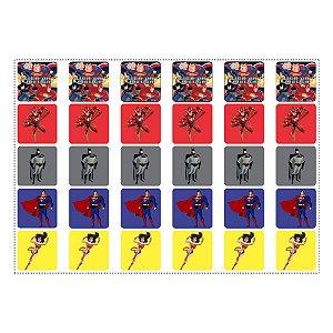 30 Adesivos Liga da Justiça para Lembrancinha Quadrado 3,7cm