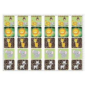 30 Adesivos Safari para Lembrancinha Quadrado 3,7cm