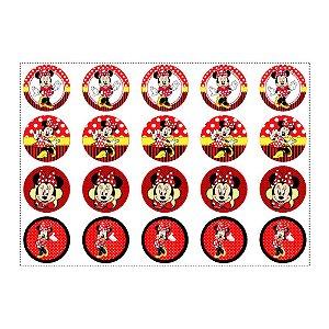 20 Adesivos Minnie Vermelha para Lembrancinha Redondo 4,7cm