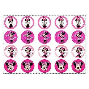 20 Adesivos Minnie Rosa para Lembrancinha Redondo 4,7cm