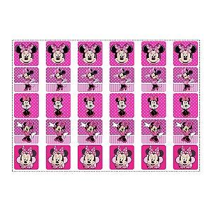 30 Adesivos Minnie Rosa para Lembrancinha Quadrado 3,7cm