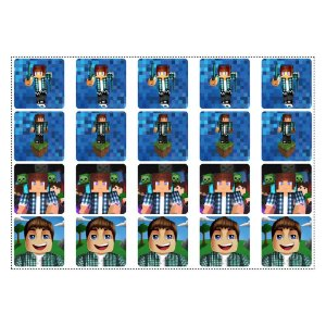 20 Adesivos Authentic Games Minecraft Quadrado 4,7cm