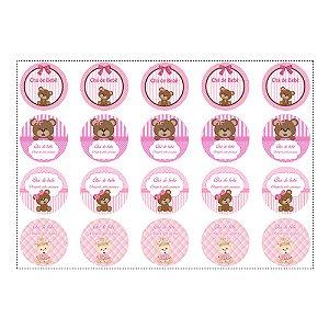 20 Adesivos Chá de Bebê Rosa para Lembrancinha Redondo 4,7cm