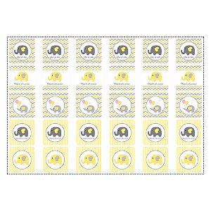 30 Adesivos Chá de Bebê Amarelo Quadrado 3,7cm