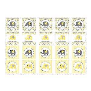 20 Adesivos Chá de Bebê Amarelo Quadrado 4,7cm