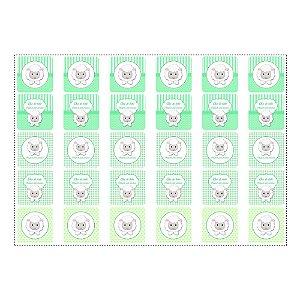 30 Adesivos Chá de Bebê Verde Quadrado 3,7cm