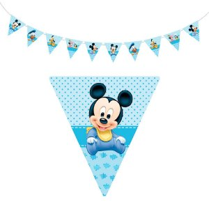 10 Bandeirolas Triangular Mickey Baby