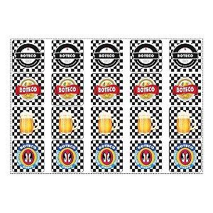20 Adesivos Boteco Preto e Branco Quadrado 4,7cm