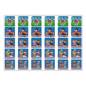 30 Adesivos Patrulha Canina Azul para Lembrancinha Quadrado 3,7cm
