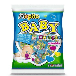 Pirulito Coração Baby Colorido Flopito Florestal - 200g