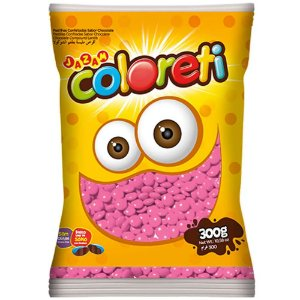 Confeito de Chocolate Coloreti Rosa 300g