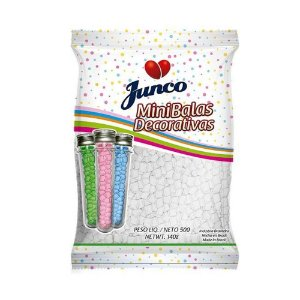 Mini Balas Decorativas Junco Branco Sabor Coco 500g