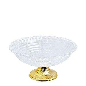 Fruteira Acrílica Gold Modelo Traços Zein - 23,5 X 9,5cm