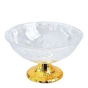 Fruteira Acrílica Gold Modelo Corações Zein - 23,5 X 9cm