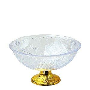 Fruteira Acrílica Gold Modelo Corações Zein - 27,5 X 9cm