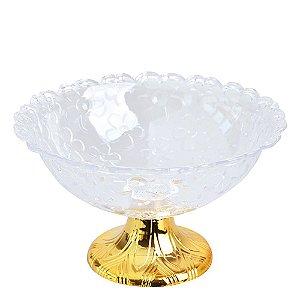 Fruteira Acrílica Gold Modelo Flor Zein - 24 X 10cm