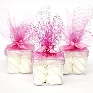 10 Caixinhas 5x5 com Lacinho e Tule Rosa + Marshmallow Fini Torção 250g Branco