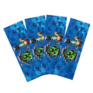 8 Adesivos Authentic Games Minecraft Retangular 20x7cm