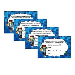 8 Convites Authentic Games Minecraft 10x15cm