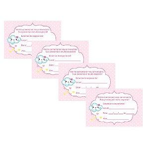 8 Convites Chuva de Amor Menina 10x15cm