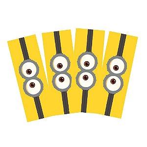 8 Adesivos Minions Retangular 20x7cm