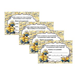 8 Convites Minions 10x15cm