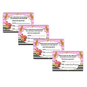8 Convites Flamingo Abacaxi 10x15cm