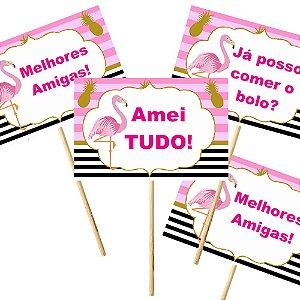 4 Plaquinhas Flamingo Abacaxi 10x15cm
