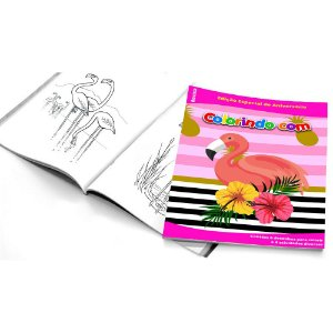 5 Cadernos de Colorir Flamingo Abacaxi