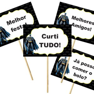 4 Plaquinhas Batman Geek 10x15cm