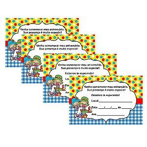 8 Convites Patati Patatá 10x15cm