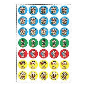 35 Adesivos Turma da Mônica Redondo 3,5cm